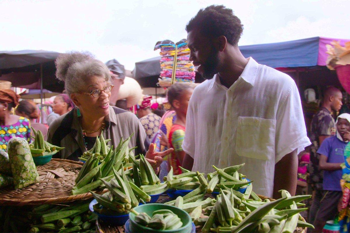 Dr. Jessica B. Harris and Stephen Satterfield shopping for okra at the Dantokpa Market in Benin.