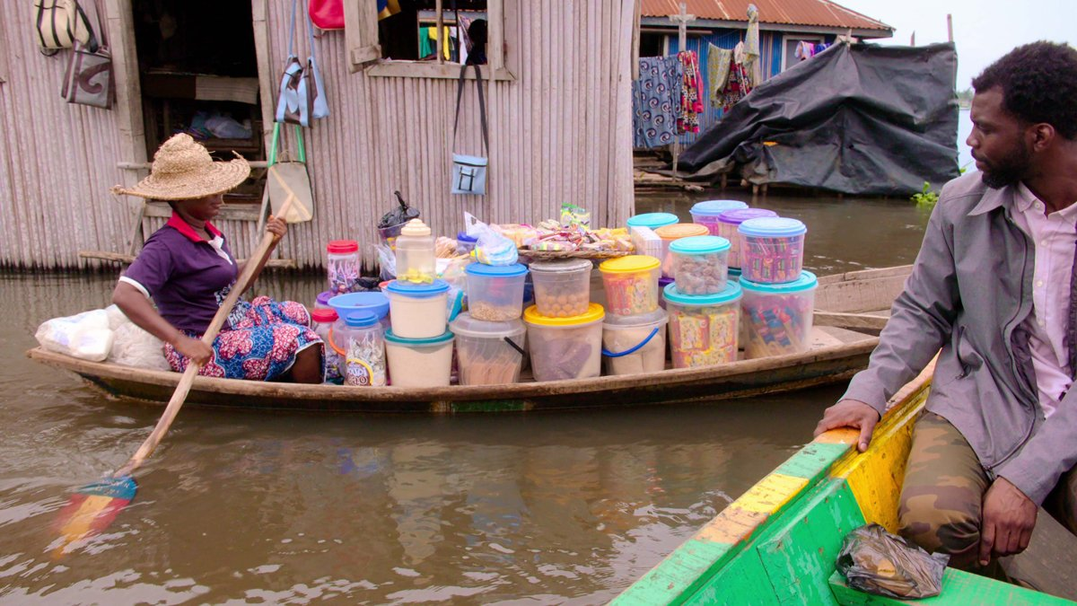 A floating market in the West African nation of Benin