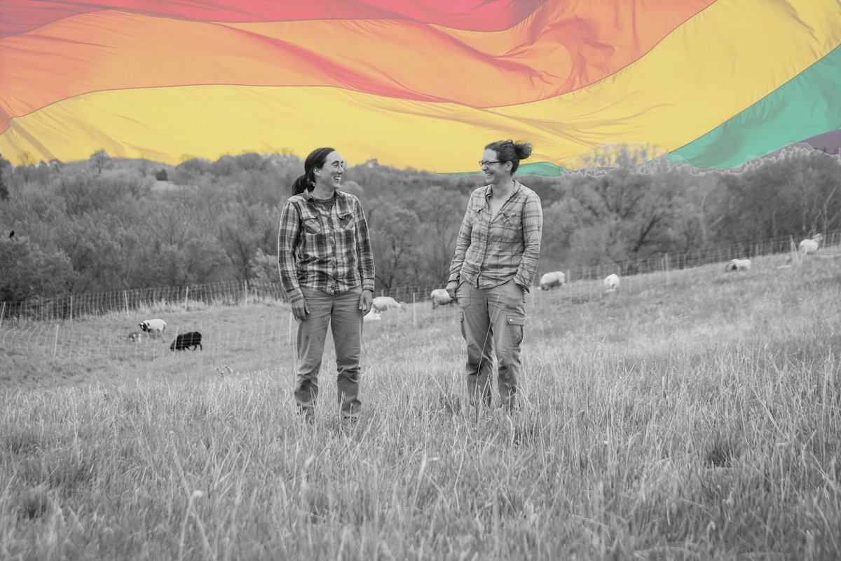Emily Fagan and Hannah Breckbill (photo courtesy of Humble Hands Harvest; Pride flag background CC-licensed by Benson Kua on Flickr)