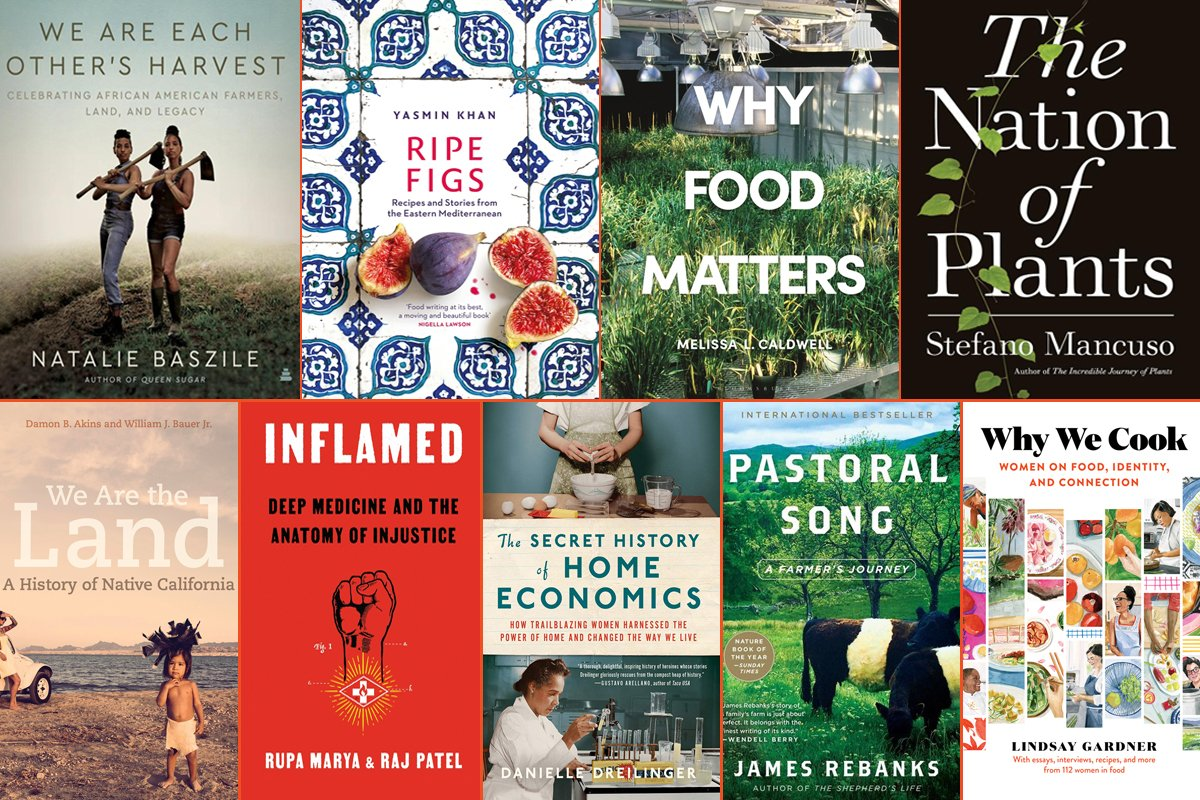 a collage of the best food and farming books in summer 2021