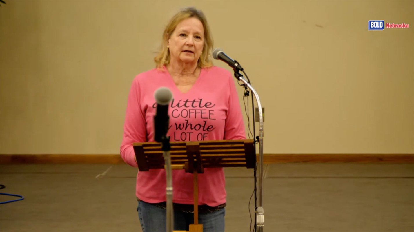 Jody Weible speaks at a Mead town hall in April.