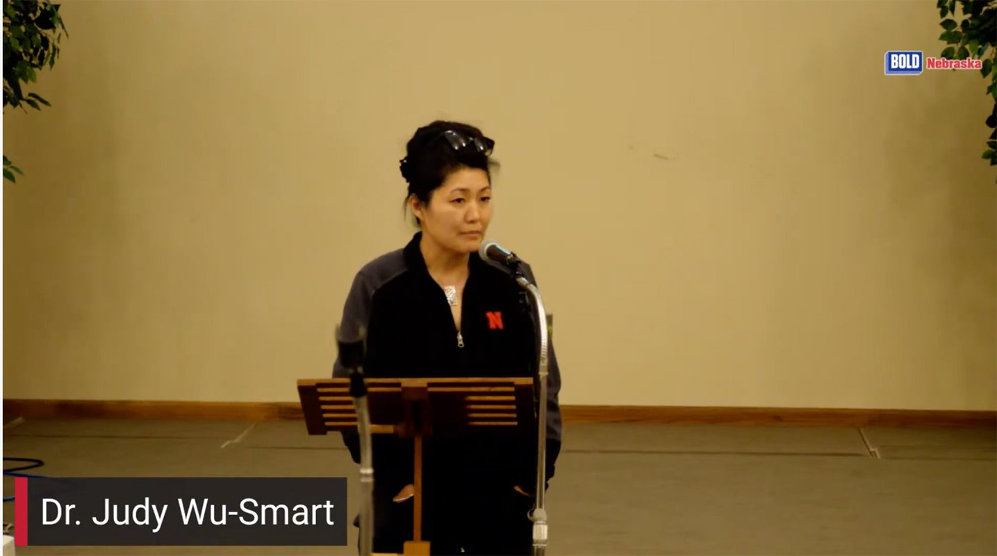 Judy Wu-Smart speaks at a Mead town hall in April.