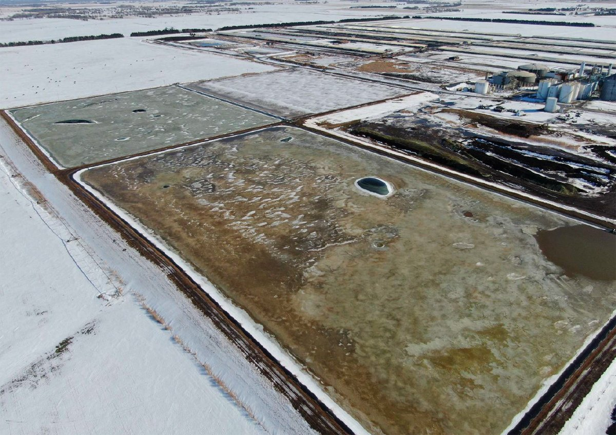 An overhead drone photo of the waste lagoon at the AltEn facility in Mead, Nebraska. (Photo courtesy of NDEE)