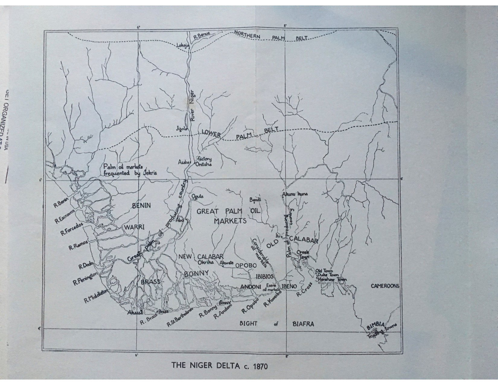 A map of the Niger Delta circa 1870, showing the great palm oil markets.