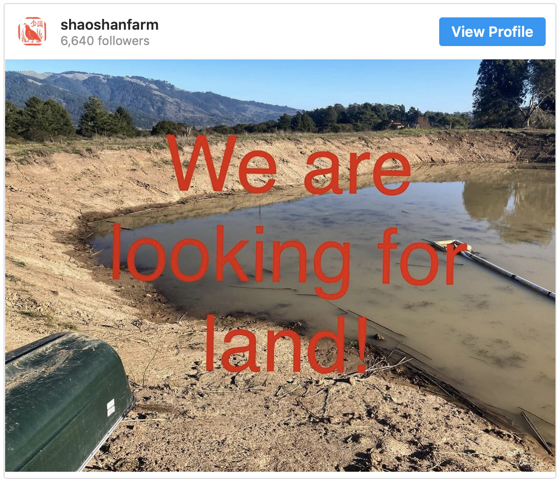 A screenshot of an Instagram post from Shao Shan Farm asking,