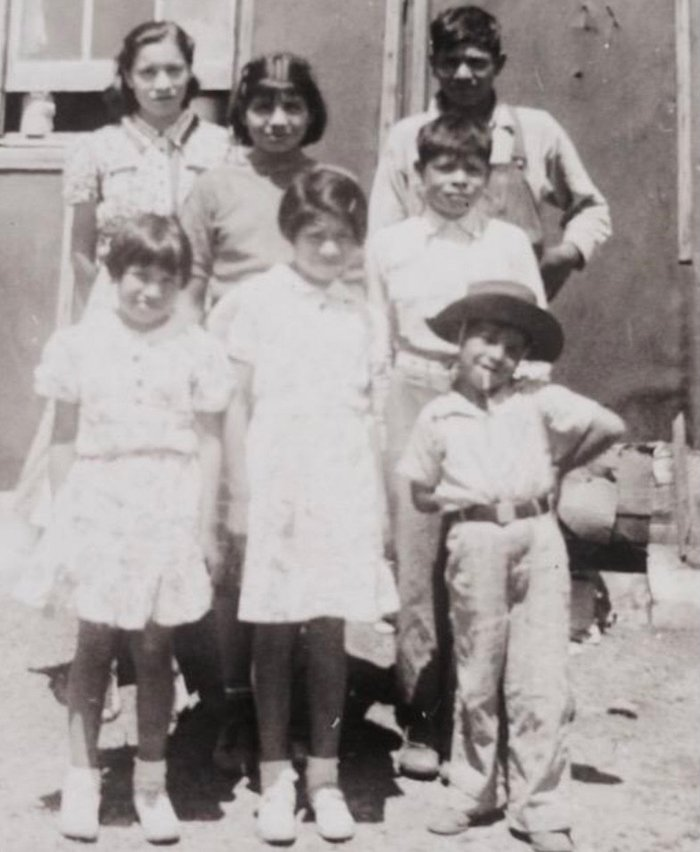 Ruth Hopkins' father (front right) with family. (Photo courtesy Ruth Hopkins)