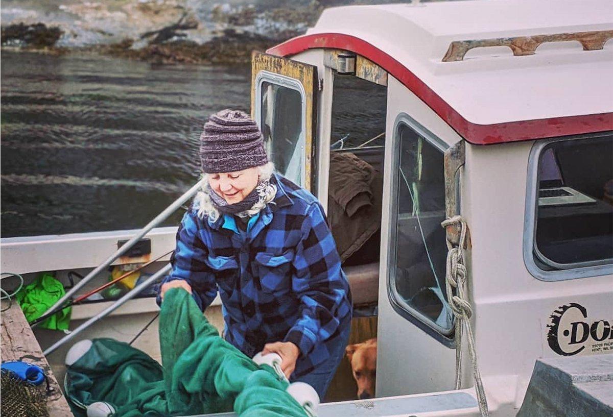 Alexandra Morton bringing in nets in the the Broughton Archipelago, in British Columbia. (Photo courtesy of Alexandra Morton, Salmon Coast Field Station)