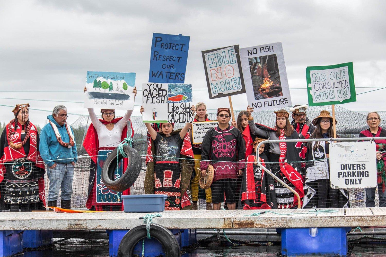 Protesters occupy a salmon farm in British Columbia. (Photo courtesy of Alexandra Morton)