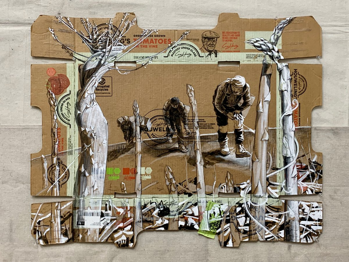 Narsiso Martinez's work, Mastering Under the Glass, 2020. Ink, Gouache, and Charcoal on produce Cardboard Box. (Photo courtesy of the artist)