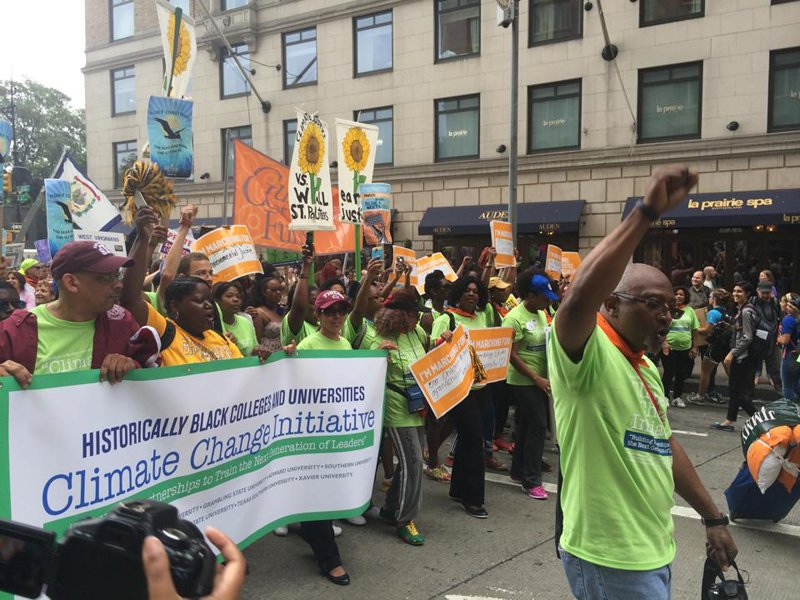 Robert Bullard leads a delegation from HBCUs during the People's Climate March.