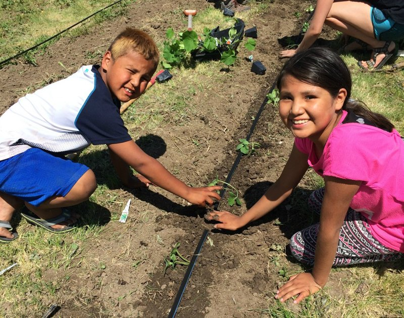 Kids learning how to garden as part of the Medicine Root Gardening Program. (Photo courtesy of the Oyate Teca Project)