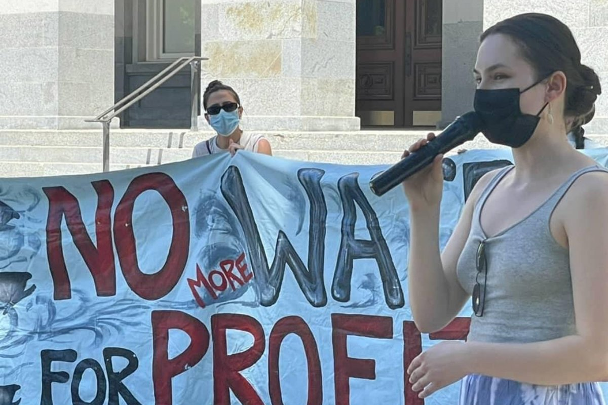 At a rally in Sacramento on May 4th to protect California's salmon, a member of the Hoopa Valley High School Water Protectors Club speaks out.