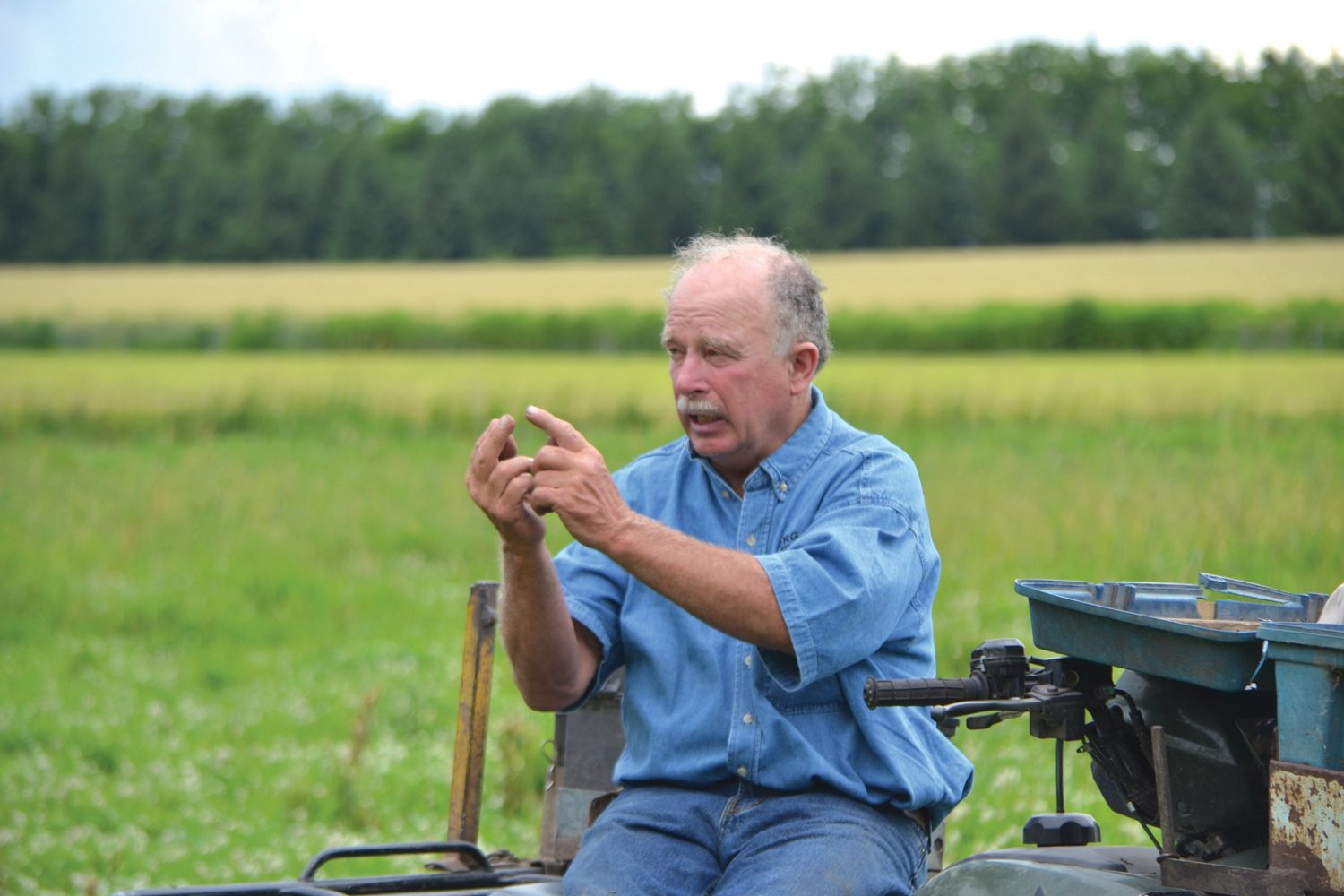 Farmer Tom Franzen talks about the way hybrid rye competes with giant ragweed during a 2016 farm tour. (Photo by Brian DeVore)