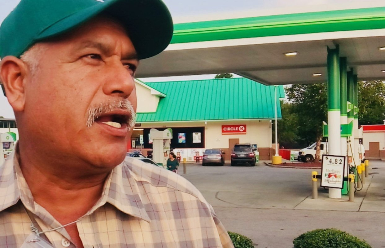 Jose Luis from the Mexican state of Tamaulipas who has been an H-2A worker and union member for over 15 years and was at a boycott of Reynolds American VUSE products at a convenience store in Raleigh, N.C. on Sept. 20, 2018. (Photo provided by Farm Labor Organizing Committee)
