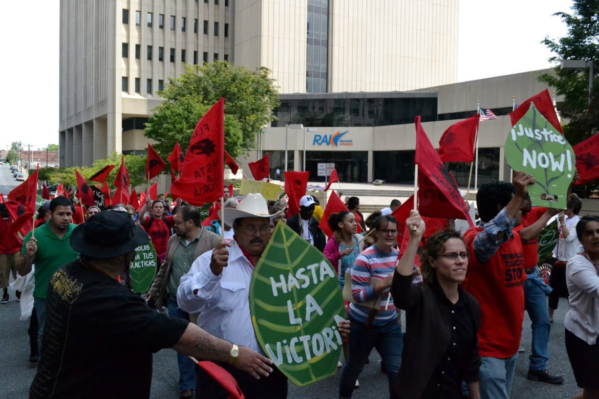 A rally of Farm Labor Organizing Committee members in front of a Reynolds American shareholders meeting in May, 2011. (Photo provided by Farm Labor Organizing Committee)