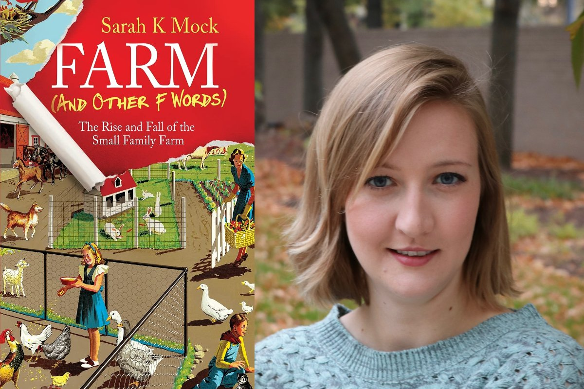 sarah k mock and the cover of her book, farm and other f words