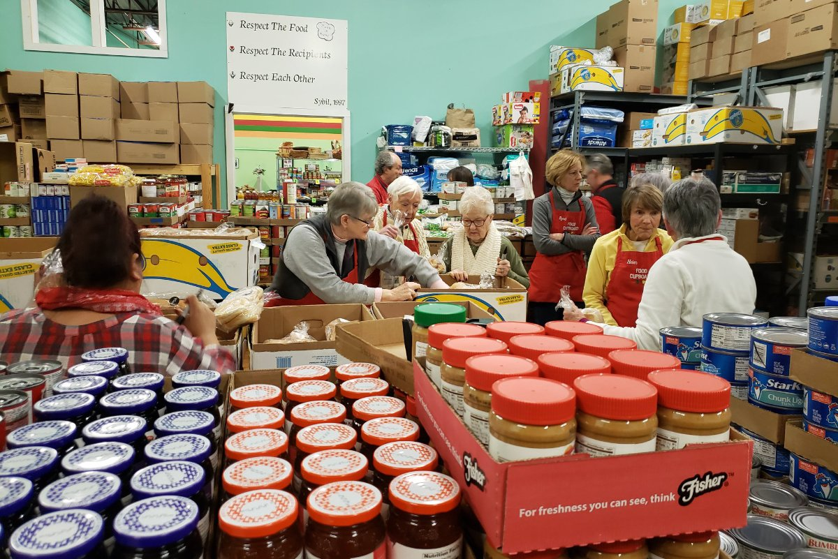 South Portland Food Cupboard is one of the food pantries operated by the Good Shepard Food Bank in Maine. The Pantry is led by a team of over 130 volunteers who pick up donations, stock shelves and serve clients. (Photo credit: Good Shepherd Food Bank via Facebook)