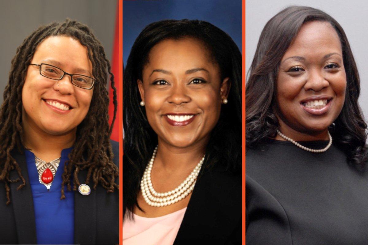 Black women farmer-politicians. From left: Kim Jackson of Georgia, Sonya Harper of Illinois, and Juanita Brent of Ohio.