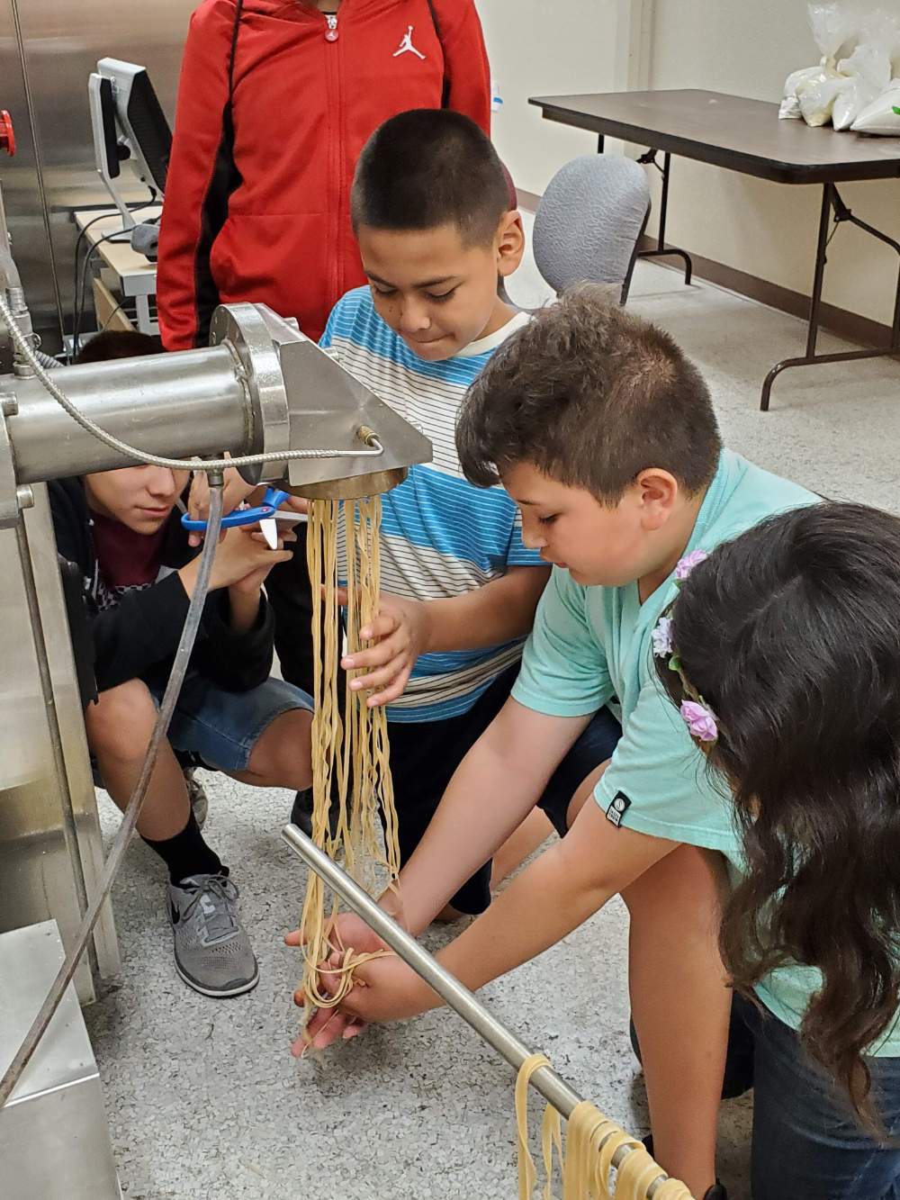 Dingle elementary school children visited the CWC in 2019 for a field trip and here they were processing whole wheat pasta with the wheat they harvested that season from their school wheat garden.