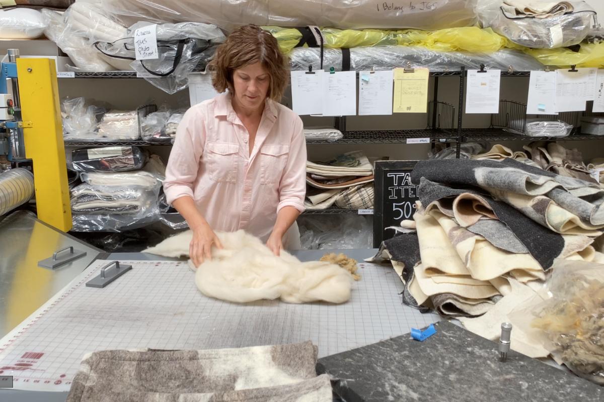 Jessica Switzer Green preparing wool for felting