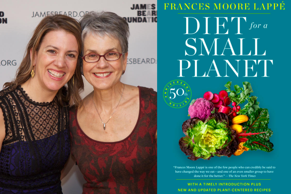 francis moore lappe and anna lappe and the cover of the 50th anniversary edition of diet for a small planet