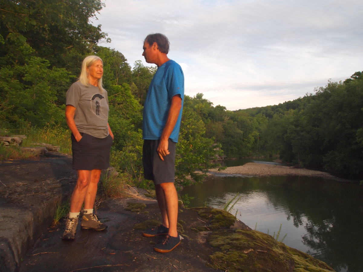 Carol Bitting and her husband Chuck, a retired cave specialist for the National Park Service, worked for nearly a decade to raise awareness about the potential impacts of CAFOs on the Buffalo River Watershed. Here they overlook the Little Buffalo, a tributary of the Buffalo River near their home.