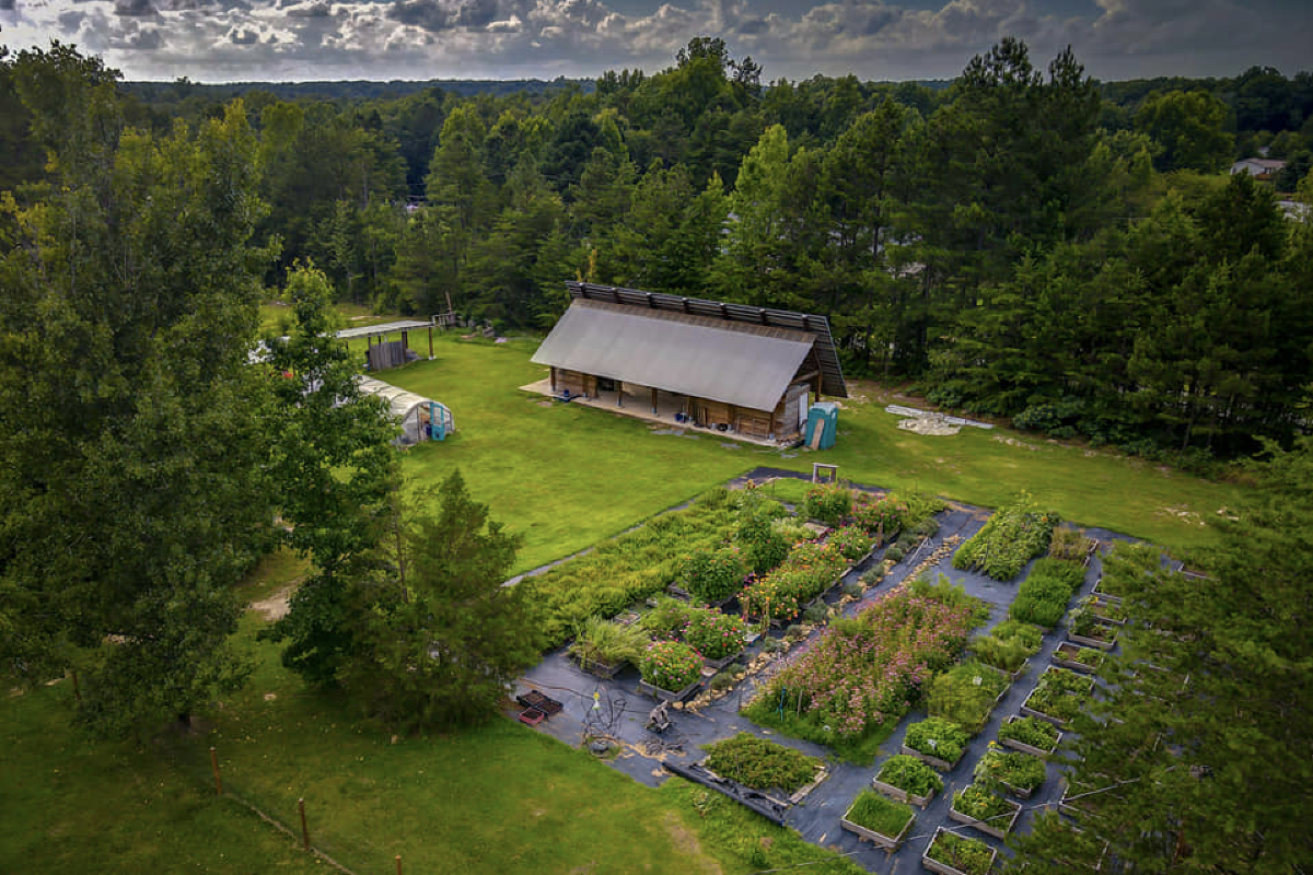 An overhead shot of part of Benevolence Farms. (Photo by Above the Trees Photography, courtesy of Benevolence Farms)